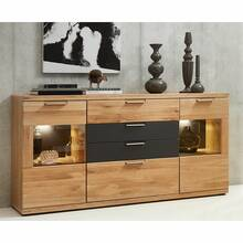 LED-dressoir BOZEN-36 Wild Oak Bianco Massief houten...