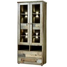 Vitrine incl. LED-verlichting Vintage Drijfhout Bruin...
