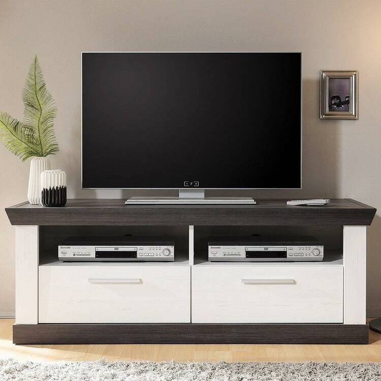 TV Lowboard Country House-stijl in Pine White & Wenge Nb. SALARA-61 met 2 laden B / H / D ca. 135x51x45cm