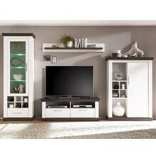 Landhuis-wandmeubel met vitrinekast incl. LED & Highboard...
