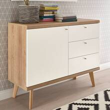 Dressoir met ladekast in retro design MAINZ-61 mat wit...