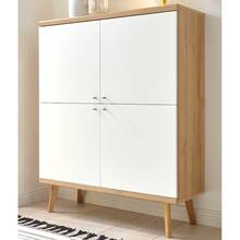 Cube highboard MAINZ-61 in retro-stijl in witte mat met...