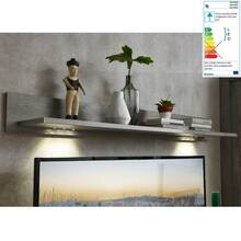 TV-lowboard en wallboard incl. LED GRONAU-55 in mat wit...