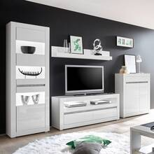 Woonkamer tv-wand in hoogglans wit COGO-61 incl....