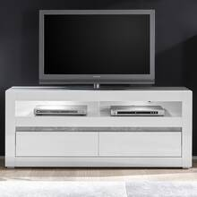 Modern tv-lowboard COGO-61 in witte hoogglans incl. LED...