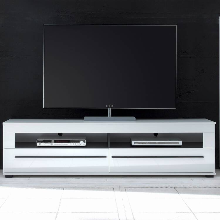 TV-Lowboard COLORADO-61 in wit hoogglans met 2 laden modern design BxHxD: 180x47x42cm
