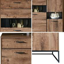 Highboard in industrieel design in Haveleiche Cognac met...