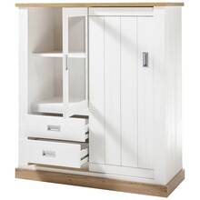 Dressoir OSIMO-61 in dennenwit met offset in Wotan eiken...