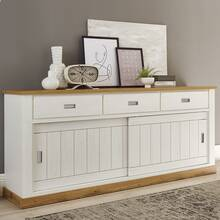 Dressoir OSIMO-61 in grenen wit met offset in Wotan eiken...