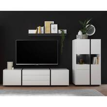 Moderne tv-wandkast KAIRO-61 in wit mat met offset in...